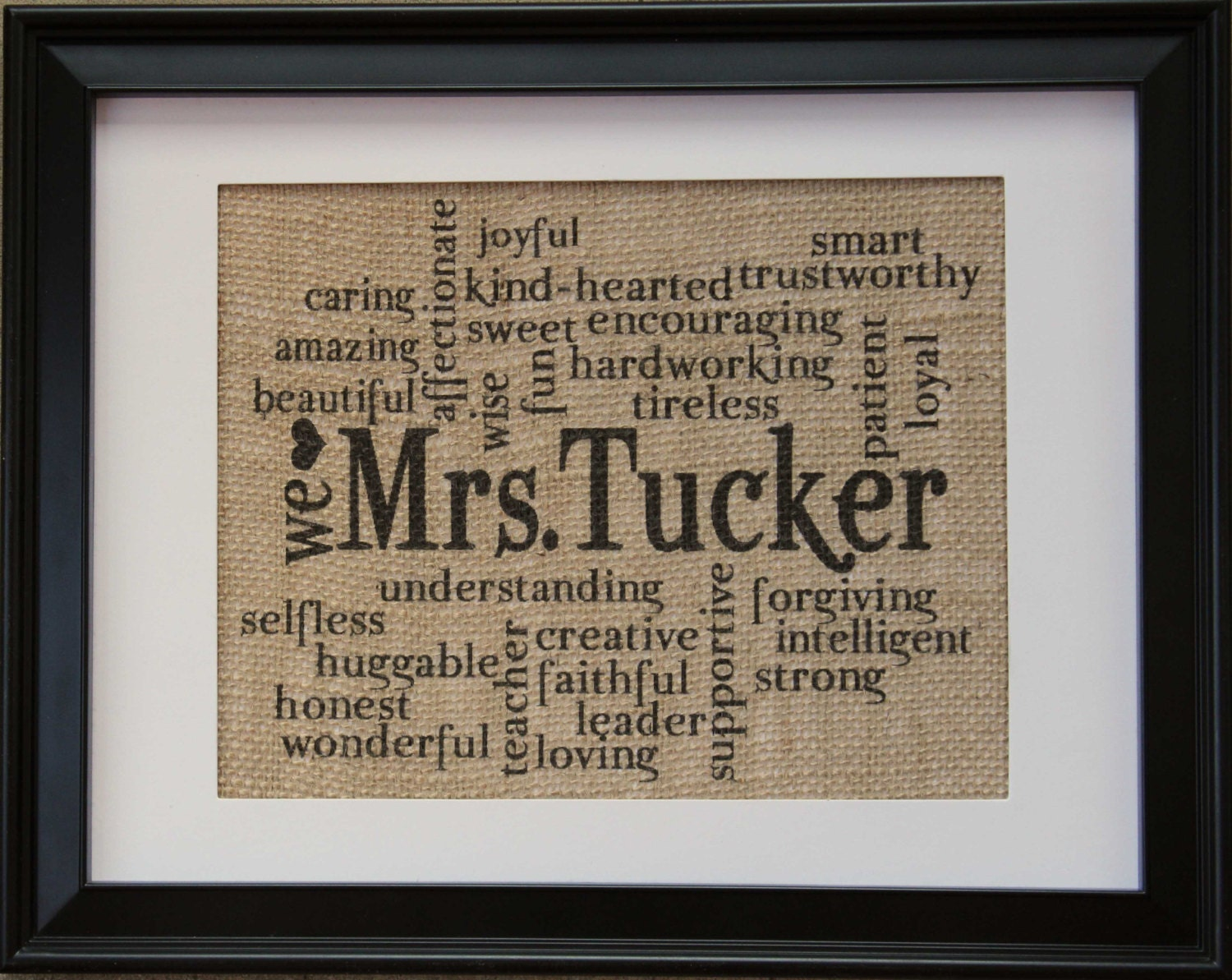 Teacher Gift Teachers Name On Burlap Burlap Print With