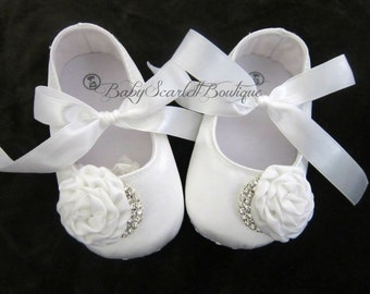 White Satin Baby Girl Shoes,Crib Shoes,Soft Sole Shoes