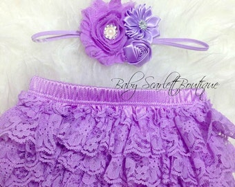 Lilac Baby Girl Lace Ruffle Bloomer,Diaper Cover and Headband Set