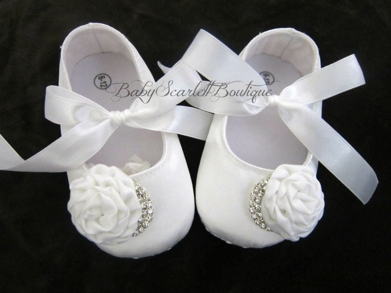 white satin baby shoescrib shoessoft sole shoes