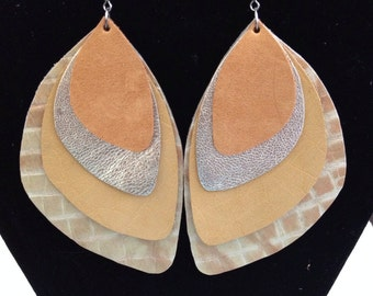 Large neutral colored leather earrings