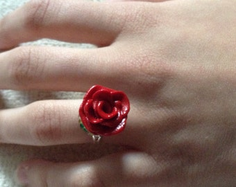 Red Rose Ring /polymer clay/adjustable/beads