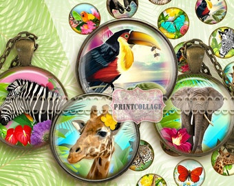 Digital Collage Sheet Printable images 1.5 inch 18mm 14mm 1inch circle Cabochon images Instant download bottle caps Exotic Animals C101