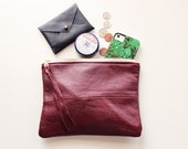 Repurposed Leather 8 Inch Everyday Zipper Pouch / Berry