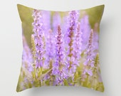 Lavender photo pillow, violet purple & olive green decorative cushion, bedroom decor, living room pillow, nature accent pillow, sofa pillow