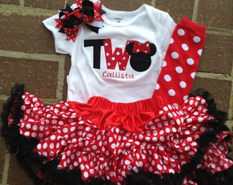 Red and black minnie mouse birthday outfit - 2nd birthday shirt petti skirt and headband - custom birthday shirt