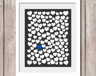 "Wedding Guestbook Instant Download - Guest Book Alternative - 120 Hearts Guests - 5 Different Colors to choose from - 16""x20"""