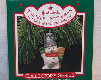 Hallmark Keepsake Christmas Ornament – 1988 MIB, Thimble Snowman 11th Edition - QX4054