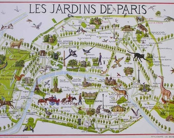 Plan De Paris Etsy - Paris map monuments