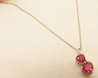 Sterling Silver  Ruby Red Two Heart  Pendant Necklace