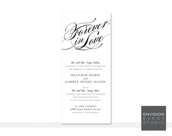 Love Script Wedding Invitation Ensemble