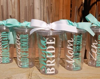 Sale! Set of 10 Personalized Bridal Party Tumblers for the price of 9! Perfect for Bachelorette Parties and Bridal Showers - Great Gifts