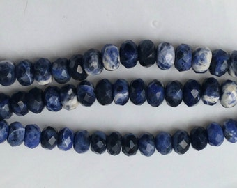 "Sodalite; 6x9 mm, Faceted Rondels; 7"" strands"