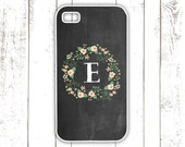 iPhone Case - Chalkboard iPhone Case with Floral Wreath - Pink Flower iPhone Cover with Monogram - iPhone 4, iPhone 4S, iPhone 5, iPhone 5s