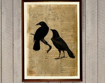 Bird poster Crow print Raven decor Dictionary page WA310
