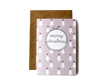 Merry Christmas Embroidery Hoop Card
