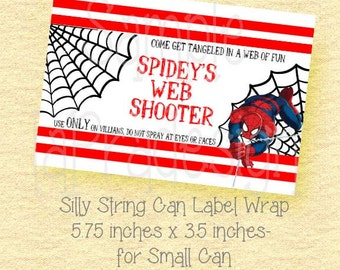 Spiderman Birthday Web Shooter Label for Silly String-SMALL CAN 1.8 oz