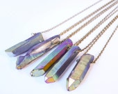 Rainbow Aura Healing Crystal Bullet Necklace - Vintage Boho - Galaxy Natural Titanium Quartz Jewellery- Gift- Bohemian Crystal Stone Jewelry