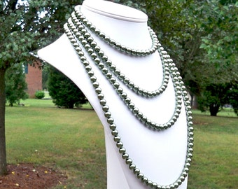 Kate - Extra Long Versatile Green Pearl Beaded Necklace - Can Be WORN MULTIPLE WAYS - See Photos