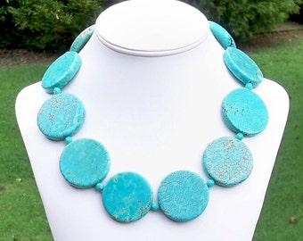 Sabrina Turquoise - GORGEOUS Chunky 40mm Round Turquoise Gemstone Beaded Necklace