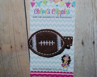 Football Hair Clip - Felt Football Clip - Football Team Colors - Sports Hair Bow - Sports Hair Clip Football for Girls Super Bowl Hair Clip