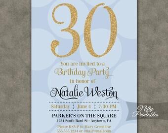 Blue Gold Birthday Invitations - ANY AGE 21 30th 40th 50th 60th 70th Glitter Birthday Invitation - Printable Light Blue Birthday Invites BHD