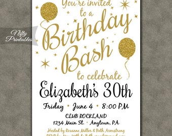 White Party Invitation Printable White Gold Black Tie - Birthday invitation gold coast