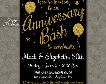 50th Anniversary Invitations Printable Black Gold Fiftieth