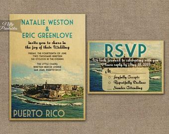Puerto Rico Wedding Invitation - Printable Vintage Puerto Rican Wedding Invites - Retro Puerto Rico Wedding Set or Solo VTW