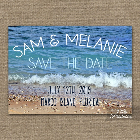 Beach Wedding Save The Date Invitation - Modern Nautical Beach Save The Date Card - Destination Wedding - Blue Ocean Beach Photo