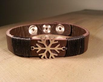 Men's leather bracelet dark brown snow leather bangle men's bracelet / jewelry bangle leather bracelet men / peace bracelet