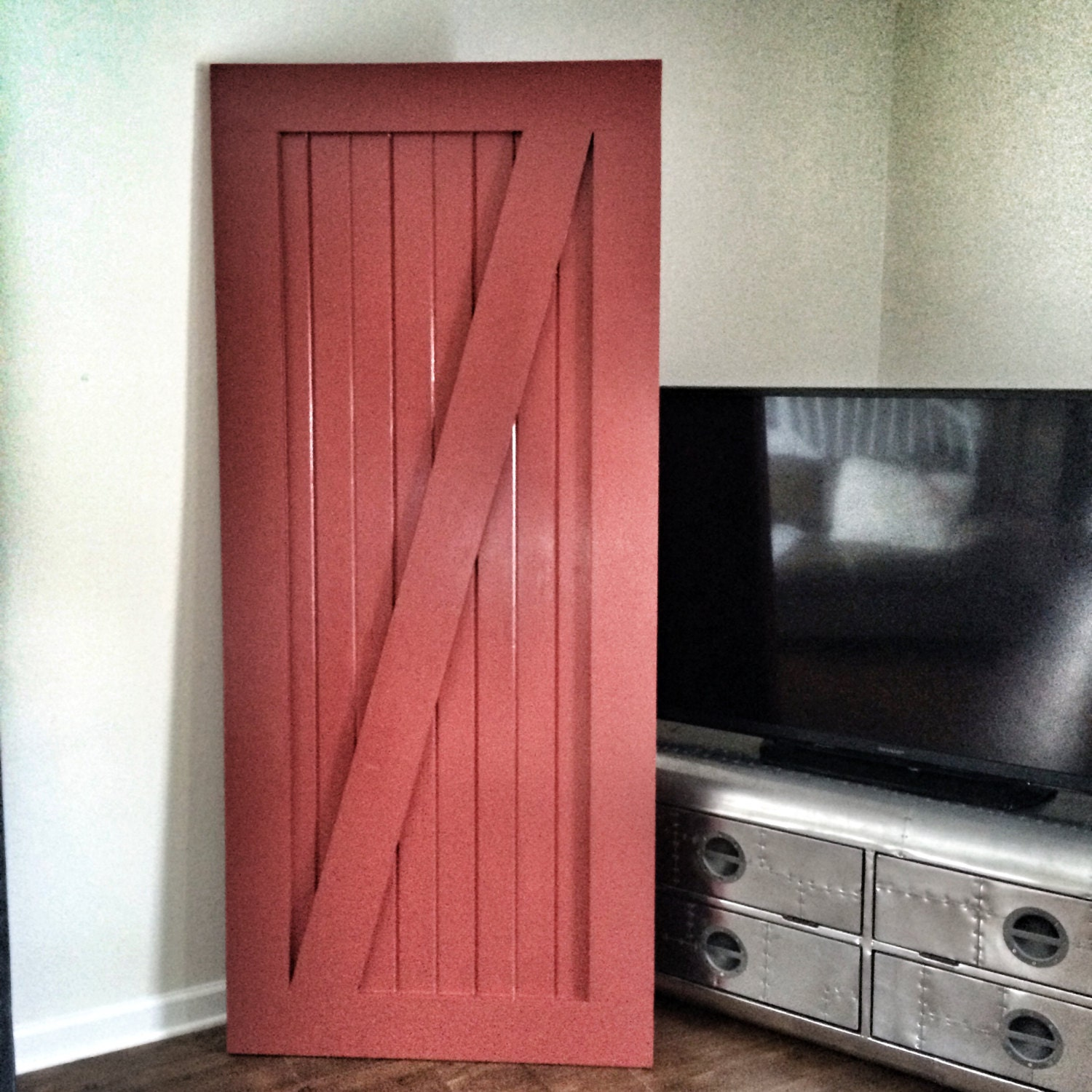 Custom made sliding barn door red by rusticluxeboutique on for Custom sliding doors