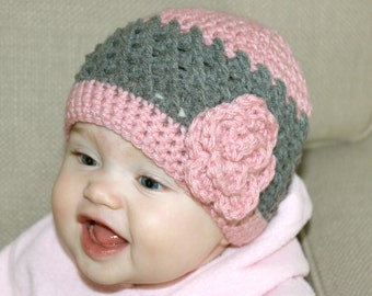 Baby Girl Crochet Hat, Toddler Girl Crochet Hat, Newborn Girl Crochet Hat- Pink and Grey with Flower