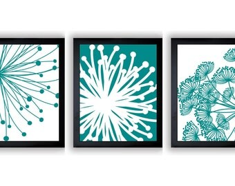 INSTANT DOWNLOAD Green Teal White Set of 3 Dandelion Art Printable Abstract Art Flower Print Wall Decor Modern Minimalist Bathroom Bedroom