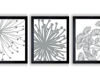 Silver Grey White Set of 3 Art Printable Abstract Art Flower Print Wall Decor INSTANT DOWNLOAD  Modern Minimalist Bathroom Bedroom