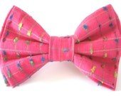 Pink Dog Bow Tie Small Medium Large Double-Stacked Removable Bowtie