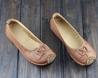 Handmade Shoes,Oxford Women Shoes, Flat Shoes, Retro Leather Shoes