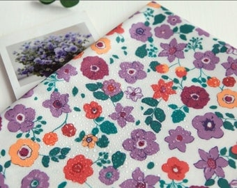 Laminated Cotton Fabric Flower Violet By The Yard
