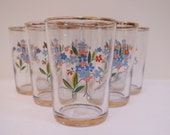 Vintage Floral Shot Glasses x 6 / Kitsch Glasses / Retro Tumblers - Floral Pink, Red and Blue / Gold Rim