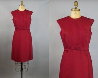 Wineberry Dress / 50s Shift Dress / Maroon Dress /