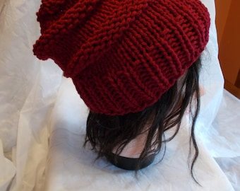 Cranberry Red Slouchy Beanie, Hand Knitted, Beehive Style, Warm Winter Accessory, Slouchy Toque, Soft and Warm, Men or Women