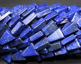 """13"""" lapis 6x9 to 7x10mm triangle gemstone beads"""