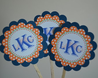 Monogrammed Cupcake Toppers - ANY Theme In My Shop - Monogram - Set of 12