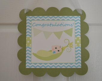 Sweet Pea Door Sign - Congratulations Sign - Baby Shower Door Sign - Blue and Green - Sweet Pea - Pea in a pod