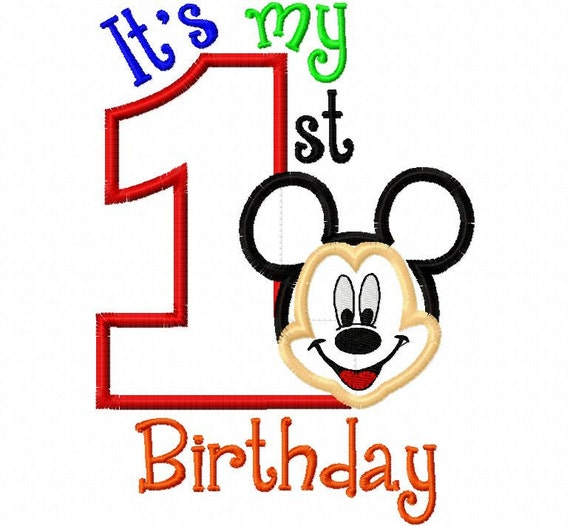 My First Birthday Mr. Mouse Full Face one 1  Applique Design Applique Machine Embroidery Design 4x4 and 5x7 mickey