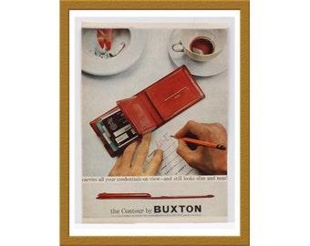 "1957 Buxton Contour Color Print AD / Billfold wallet / 9"" x 12"" / Original Advertisement / Buy 2 ads Get 1 FREE"