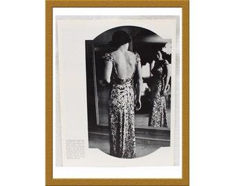 """1942 B&W Print / Nettie Rosenstein - Bergdorf 40s fashion dress / 9"""" x 12"""" / Buy 2 ads Get 1 FREE"""