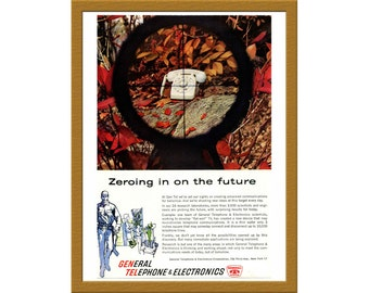 "1960 General Telephone & Electronics Color Print AD / Zeroing in on the future / 6"" x 9"" / Original Advertising / Buy 2 ads Get 1 FREE"