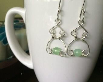 handmade sterling silver and green jade chandelier earrings