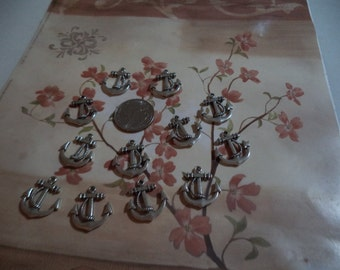 Charms Pewter anchors 12 pieces nautical